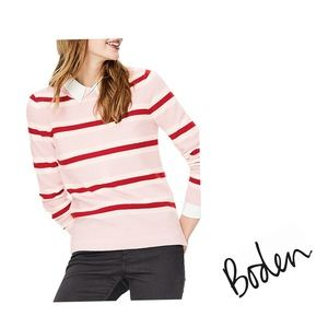 Boden Pink Stripe Pullover Cashmere Sweater Size M